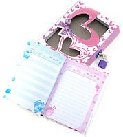 Блокнот с замком для девочек розовый 2 ключа16,5х13х3см (29796)