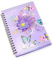 Блокнот с замком для девочек фиолетовый 2 ключа18х13,5х1см (29824B)