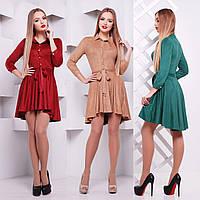 Замшевое платье с рубашечным воротником и асимметричной юбкой