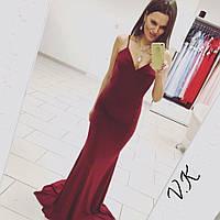 Вечернее платье макси с открытой спиной из микромасла