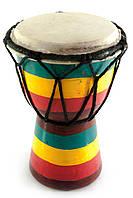"""Барабан """"Раста"""" дерево с кожей (15х9,5х9,5 см)"""