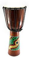Барабан расписной дерево с кожей черный 50х22х22см (30189)