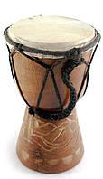 Барабан резной дерево с кожей 15х9,5х9,5см (30248)