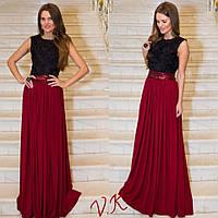 Вечернее платье в пол с поясом из паетком и красивой юбкой