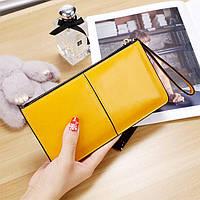 Женский кошелек Стиль на молнии большой желтый, фото 1