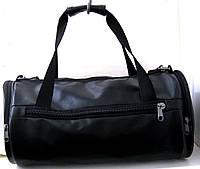 Спортивная сумка бочонок кожзам черная