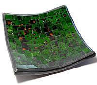 Блюдо терракотовое с зеленой мозаикой (14,5х14,5х2 см)