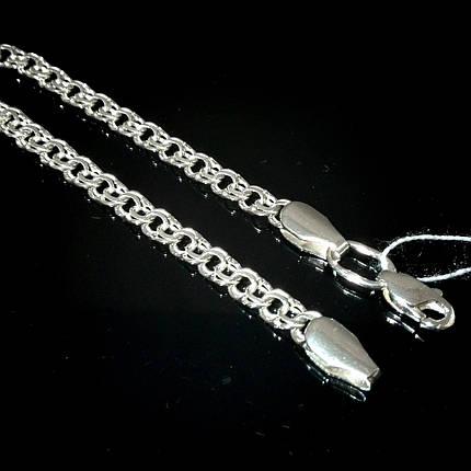 Серебряная цепочка, 450мм, 12 грамм, плетение Бисмарк, светлое серебро,  фото 2 39a212aa053