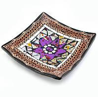 Тарелка терракотовая с мозаикой 15х15х3см (29456)