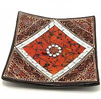 Тарелка терракотовая с мозаикой 19х19х4см (29684A)