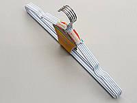 Плечики вешалки тремпеля металлический в силиконовом покрытии белого цвета, длина 40 см, в упаковке 5 штук
