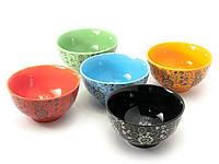 """Керамические пиалы для лапши и супа """"Цветы"""" набор 5шт h-6 d-11,5см (29707)"""