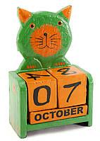 """Календарь настольный """"Кот"""" дерево зеленый (15х10х5 см)"""