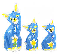 Кошки 3 шт деревянные синие(15х5х3 см 12х4,5х2,5 см 10,5х4,5х2,5 см)