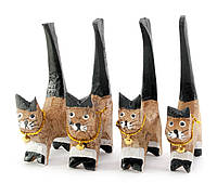 Кошки деревянные кольцедержатели 4шт 11х5х7,5см цена за набор (29854D)