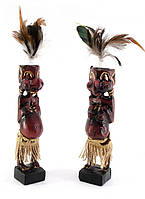 Папуасы пара резные дерево красные (20,5х4х4 см)