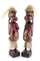 Папуасы пара резные дерево красные (34х6х5 см)