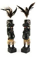 Папуасы пара резные дерево черные 20,5х4х4см (29911)