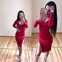 Обтягивающее платье с разрезом, креп-дайвинг