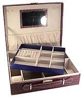 Шкатулка для украшений с зеркальцем фиолетовая (32,5х26х9 см)