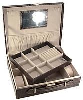 Шкатулка для украшений с зеркальцем черная 32,5х26х9см (28016B)