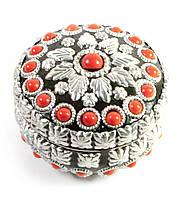 Шкатулка металическая с красными камнямиd-см h-6см (29319A)