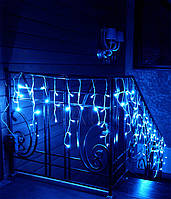 Светодиодная гирлянда бахрома 5 метров, удлиняемая, черный шнур, белый, желтый, синий цвет свечения, Харьков