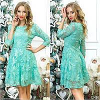 Коктейльное платье мятного цвета с рукавом 3/4. Модель 12436