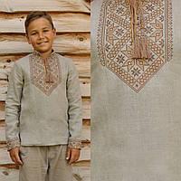 Серая вышиванка на льне для мальчика с длинным рукавом
