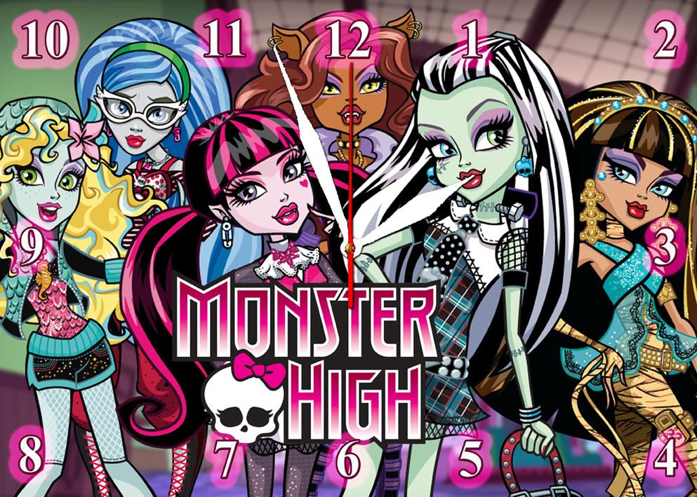 """Часы настенные стеклянные """"Monster High"""" детские"""