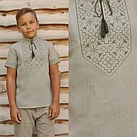 Серая вышиванка детская для мальчика с коротким рукавом