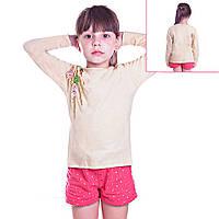 Кофта детская для девочек с длинным рукавом Березовая Ветвь с пайетками, цвет бежевый