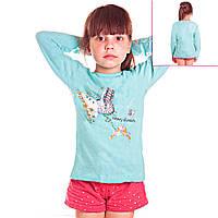 Кофта детская для девочек с длинным рукавом Бабочки и Бантики с пайетками, цвет голубой