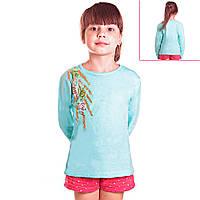 Кофта детская для девочек с длинным рукавом Березовая Ветвь с пайетками, цвет голубой
