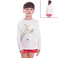 Кофта детская для девочек с длинным рукавом Синица в руках с пайетками, цвет белый