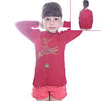 Кофта детская для девочек с длинным рукавом Синица в руках с пайетками, цвет красный