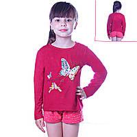 Кофта детская для девочек с длинным рукавом Бабочки и Бантики с пайетками, цвет красный