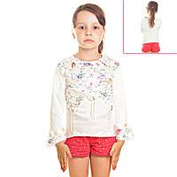 Кофта детская для девочек рукава воланы три четверти, с радужным принтом и пайетками, цвет белый
