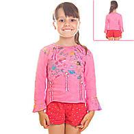 Кофта детская для девочек рукава воланы три четверти, с радужным принтом и пайетками, цвет розовый