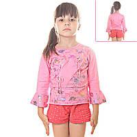 Кофта детская для девочек рукава воланы три четверти, Радужные Розы с пайетками, цвет розовый