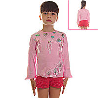 Кофта детская для девочек Сердечки и Банты с лентами, рукава воланы три четверти,  с пайетками, цвет розовый