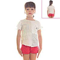 Кофта детская для девочек Радужный Горошек и Цветы, рукава короткие с бантиками, цвет белый