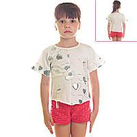 Кофта детская для девочек Радужные Сердечки и Цветы, рукава короткие, цвет белый