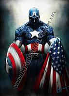 Картина 40х60см Капитан Америка флаг и щит