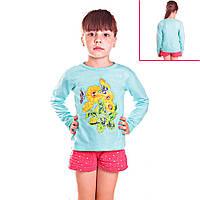 Кофта детская для девочек с длинным рукавом Бабочка на подсолнухе с пайетками , цвет голубой
