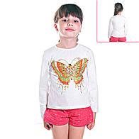 Кофта детская для девочек с длинным рукавом Тропическая Бабочка с пайетками , цвет белый
