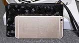 Сумочка-клатч с ремешком на руку текстура Камень черная, фото 3