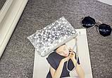 Сумочка-клатч с ремешком на руку текстура Камень серебро, фото 2