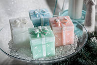 Свеча ароматическая подарок 75х75х80мм. Цвет белый 1 шт.