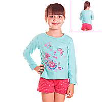 Кофта детская для девочек с длинным рукавом Танец Бабочек в саду с пайетками, цвет голубой